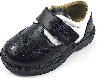 男童经典黑白拼接舒适皮革牛津鞋翼尖正装鞋