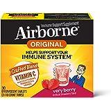 Airborne 浆果泡腾片,维生素C 1000毫克(每份),一盒30粒,无麸质,机体抵抗能力支持补品,含维生素A C…