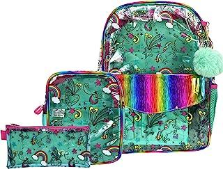 独角兽透明背包,适合女孩,重型 PVC 透明背包,透视 16 英寸(约 40.6 厘米)书包,带斜挎包,适合青少年小学生旅行包