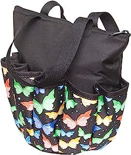 ABS Novelties 蝴蝶图案 10 个口袋拉链手提包(黑色)