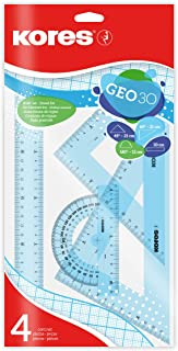 Kores GEO30,几何塑料套件,4 件装塑料袋(1 x 30 厘米尺子,1 x 180 °-12 厘米,1 x 三角 60 °-21 厘米,1 x 三角 45 °-21 厘米) - 各种颜色