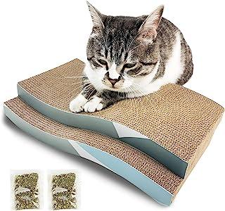 HPYMore 猫抓垫,瓦楞猫抓板,S 型耐用猫抓板双面带猫抓板,用于家具保护,2 件装