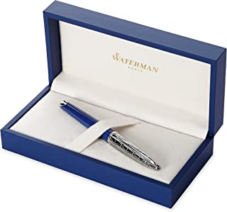 Waterman 威迪文 Carène 现代钢笔,亮蓝色 青铜色带花纹, 带钯饰边,细笔尖,带蓝色墨囊,礼盒
