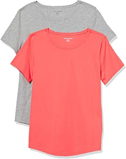 Amazon Essentials 女式 2 件装经典修身 * 纯棉短袖圆领 T 恤