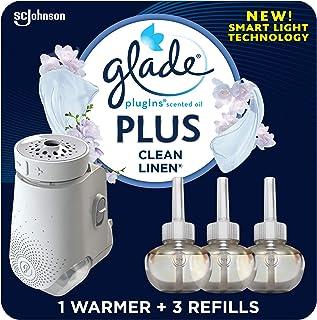 Glade PlugIn Plus 空气清新剂入门套装,家用和浴室香味油,清洁亚麻,2.01 液体盎司,1 个加热器 + 3 个替换装