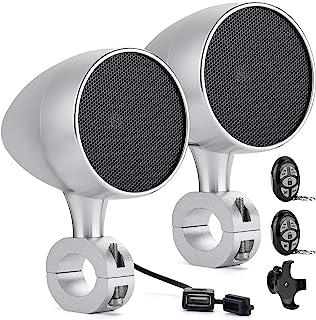 KEMIMOTO 摩托车蓝牙音箱防水 12V 四轮蓝牙立体声扬声器系统,带 USB 充电端口和遥控器,通用适合 0.87-1.25 英寸车把,适用于 ATV 摩托车踏板车