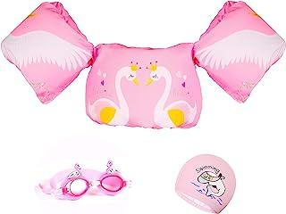 SwanJumper 粉色水坑跳绳,适合女孩儿童:水坑跳绳,适用于30-50 磅的儿童,带护目镜和帽子