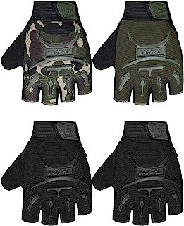 4 双儿童自行车手套半指自行车手套防滑手套运动手套适合男孩和女孩(黑色、军*、迷彩、6-10 岁)
