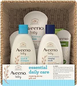 Aveeno 艾惟诺 Baby Essential 日常护理婴儿和妈妈礼品套装,包含多种护肤和沐浴产品,滋养宝宝,呵护妈妈,新妈妈和准妈妈的婴儿礼物,7 件