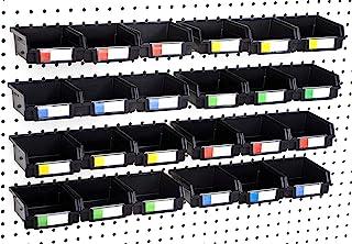"""3、6、9 或 12 个装木栓板箱 - 1/4 英寸(约 0.6 厘米)+ 1/8 英寸(约 0.6 厘米)孔木栓板 - 整理硬件、配件、工作台、车库存储、工艺室、工具小屋、爱好用品、小零件 3.5"""" Bin, 24-Pack"""
