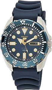 SEIKO 精工 男式 模拟自动手表带有硅胶革带–SRP605K2
