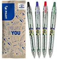 PILOT 百乐 Bottle 2 Pen Ecoball 1.0 圆珠笔,再生合成材料制作,4件套 (蓝色、黑色、红色…