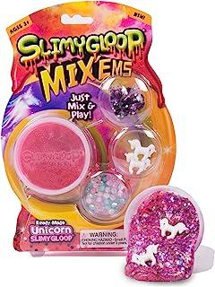 Slimygloop Mix'Ems by Horizon Group USA- 独角兽,混合和创造您自己的粉红色闪亮独角兽蜂蜜,油灰,史莱姆,带亮片和五彩纸屑