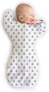 Amazing Baby 过渡襁褓睡袋,带手套袖口,五彩纸屑,纯色,中号,3-6 个月 纯银色 小号
