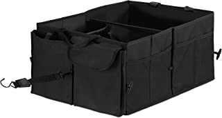 Relaxdays 汽车行李箱收纳箱,可折叠,3个隔层,60升,后备箱袋,高宽深27.5 x 56 x 44厘米,不同款 颜色 黑色 56 cm