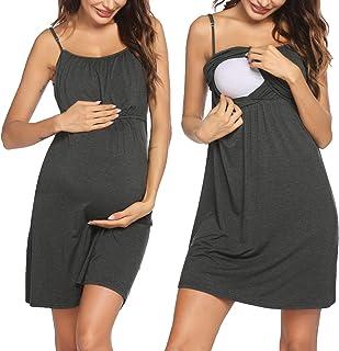 Ekouaer 女式哺乳睡衣孕妇连衣裙哺乳服全睡裙