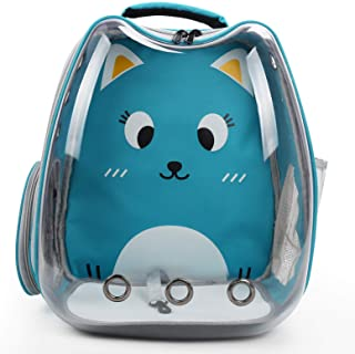 猫背包载体,大透明泡泡宠物背包袋,便携式通风携带背包,适合猫和小型犬,航空公司批准的防水宠物携带包,适合徒步户外使用(蓝色)