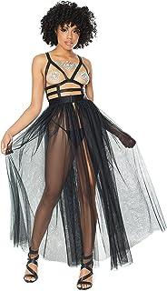 Coquette 女式超细纤维玫瑰蕾丝娃娃装,黑色,均码