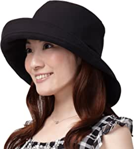 Aimedeia 隔热&防紫外线 宽帽檐帽子 A-02 黑色 (適応サイズ)頭囲/54~61cm A-02BK