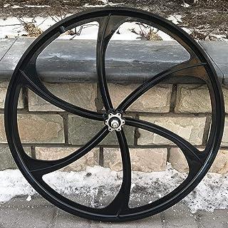 DONSP1986 26 英寸(约 66.0 厘米)后弹轮仅带 135 毫米宽,适用于旋转单速飞轮/26 英寸(约 66.0 厘米)镁轮/黑色/碟刹车 - 适用于海滩巡洋舰、MTB 和燃气动力自行车