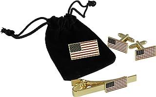 美国国旗珠宝套装 - 领带条、袖扣 + 领针