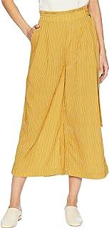 J.O.A. 女式侧带褶皱宽腿长裤,