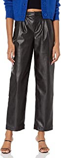 KENDALL + KYLIE Women's VEGAN LEATHER CROPPED PANT, BLACK, L