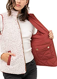 FASHION BOOMY 女式绗缝衬垫背心 - 双面羊绒拉链夹克,带口袋