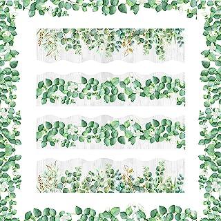 60 英尺(约 18 米)桉树模切边框装饰公告板教室公告墙叶公告装饰春绿化边框装饰适用于课堂学校卧室卫生间墙壁装饰