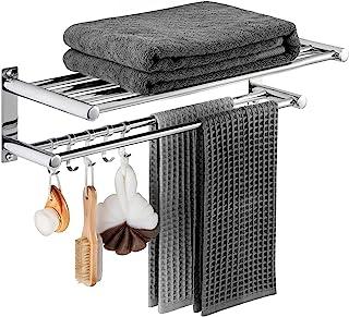 浴室毛巾架 - 洗手间浴巾架带两个毛巾杆 5 个挂钩,壁挂毛巾架 SUS 304 不锈钢抛光表面