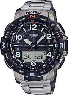 Casio 卡西欧 男式 Pro Trek 蓝牙连接 石英健身手表 钛表带 银色 23(型号:PRT-B50T-7CR)