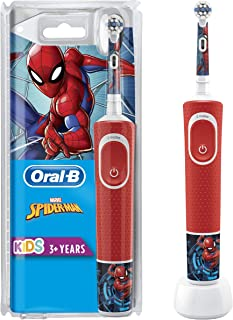 Oral-B 欧乐B 蜘蛛侠儿童电动牙刷 适用于3岁以上儿童,软毛小刷头,2个清洁程序,含计时器,4张迪士尼贴纸,红色