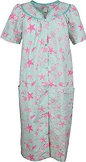 Elegant Emily 女式加大码棉混纺睡袍,前按扣,口袋