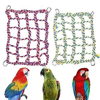 Petmolico 宠物攀岩绳网,老鼠仓鼠鸟雪貂悬挂吊床棉攀岩绳梯子小型动物活动玩具,2 件装,红色 + 黄色
