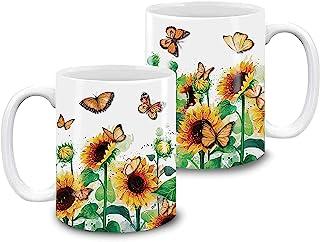 325 毫升咖啡杯向日葵蝴蝶植物爱好者马克杯送给向日葵爱好者的礼物