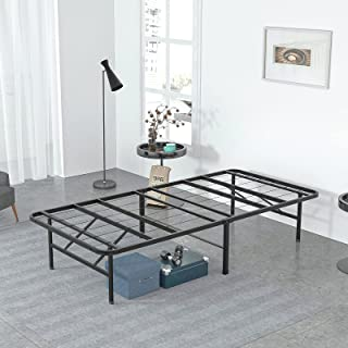 Molblly Bed Frame 单人床尺寸,14 英寸(约 35.5 厘米)金属床框架/平台床架/无需弹簧/强力支撑床垫/床下存储空间/防滑支撑/无噪音/安装简易 带工具