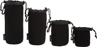 Amazon Basics 防水氯丁橡胶相机镜头配件保护壳 - 4 件套,黑色