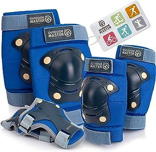 OutdoorMaster 儿童/青少年防护装备 - 护膝护腕 6 合 1 套装适用于自行车、自行车、轮滑、滑板、自行车、直排滑、悬停板、便士板