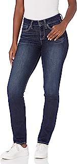 Silver Jeans Co. 女式 Suki 曲线修身中腰直筒牛仔裤