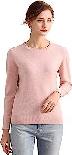 RanRui 女式轻质保暖圆领长袖羊绒毛衣裙牛仔裤