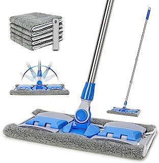 VAIIGO 专业超细纤维硬木地板拖把,扁平拖把,带 5 件可重复使用可水洗垫,适用于家庭和办公室,干湿地板清洁(天蓝色)