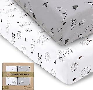 * 平纹针织婴儿床床单男孩和女孩 - 2 件装柔软透气棉质婴儿床床单中性 - 适合标准幼儿园婴儿床床垫 - 幼儿床单 - 婴儿床床垫套装(木林地)