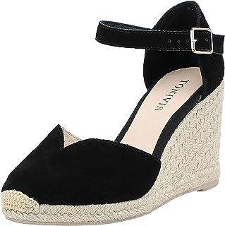 TONIVIS 女士坡跟凉鞋,7.62cm 坡跟,踝带,开普托,夏季帆布鞋跟鞋