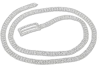 "Wedding Jewelry Silver 44""Rhinestone Double Line with Silver Beads Belt"