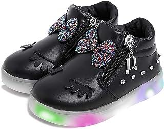 女婴发光 LED 鞋幼儿公主闪光鞋女孩闪亮独角兽运动鞋带可爱蝴蝶结睫毛