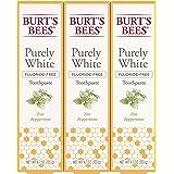 Burt's Bees 小蜜蜂 牙膏,天然风味,无氟纯白色,禅薄荷味,4.8 盎司(约 133.2 克)3 支装