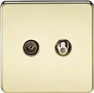 Knightsbridge 无螺丝电视和卫星电视插座 - 家长 亮黄铜色(Polished Brass) Polished Brass SF0140PB