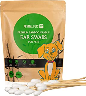 Prymal Pets 大号竹棉耳塞,用于狗狗耳朵清洁,大意味着*,专业级狗狗耳朵,可生物降解,细节和清洁
