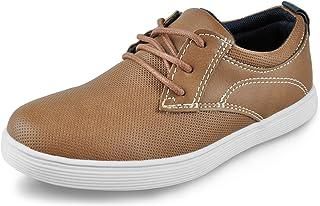 Tuboom 男童乐福鞋儿童纯色船装系带鞋棕色