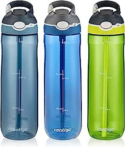 Contigo 康迪克 AUTOSPOUT Ashland吸管水瓶,24盎司/710毫升,摩纳哥蓝/亮青柠色/暴风雨灰,3件装